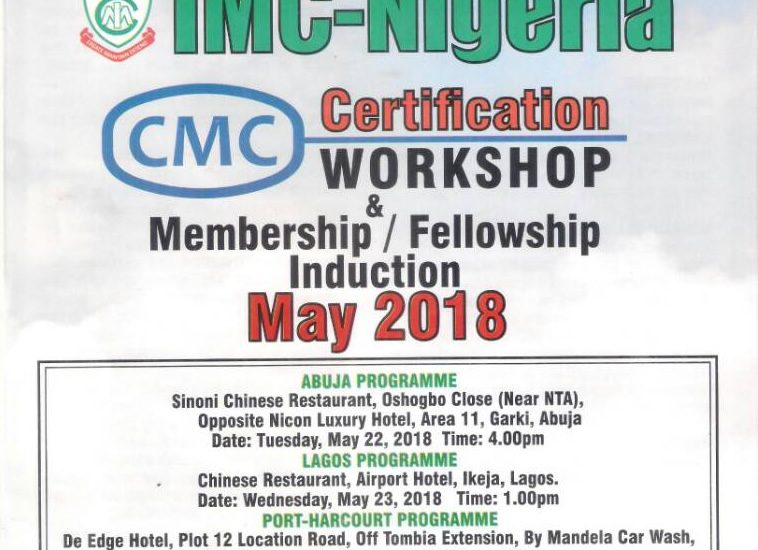 CMC Certification Workshop, Membership & Fellowship Induction – May ...
